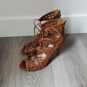 Vince Camuto Brown Leather Lace Up Heel